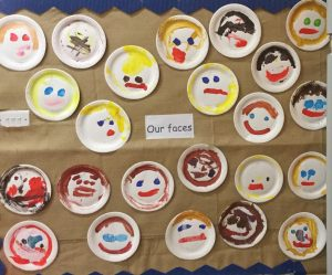 Faces painted by the Nursery class